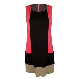 NWT Coral Pink Brown Color Block Shift Dress XS